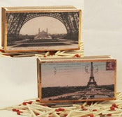Image of 19th Century Paris Postcard Matchbox, Eiffel Tower