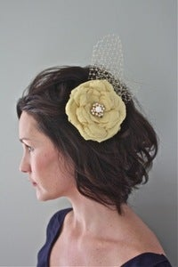 Image of Alva - Golden Sunshine Silk Flower with Vintage Brooch center