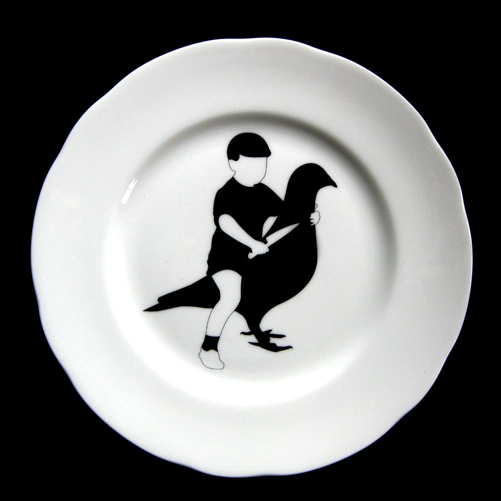 Image of BOY RIDING BIRD /  Playground plate