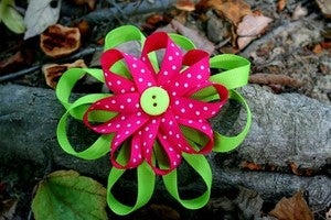 Image of Pink and Green Flower bow