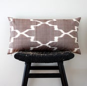 Image of BROWN IKAT Silk Cotton 63 x 34 cm, Cushion Cover, Throw Pillow