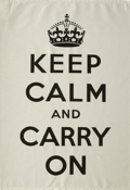 Image of Keep Calm and Carry On Tea Towel- Black