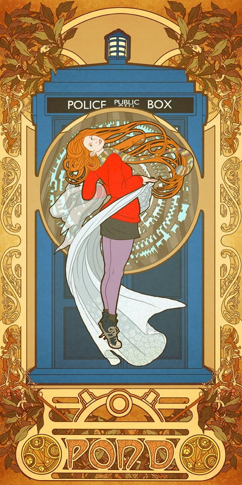Image of Amy Pond by way of Alphonse Mucha