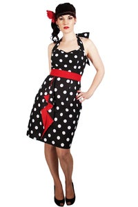Image of Black & White Fitted Dress With Red Detail