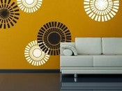 Image of Vinyl Wall Sticker Decal Art - Circle Shapes - Wallpaper Look