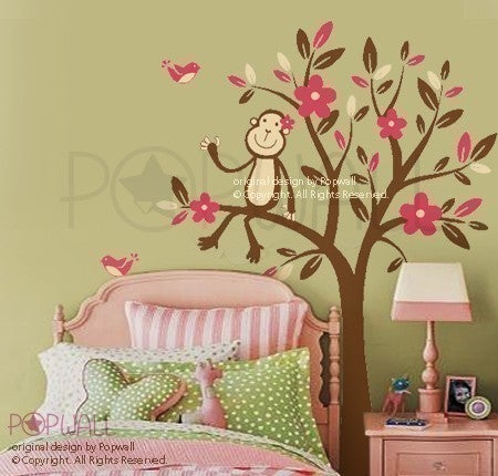 monkey nursery decals monkey wall decal jungle animal tree decal by