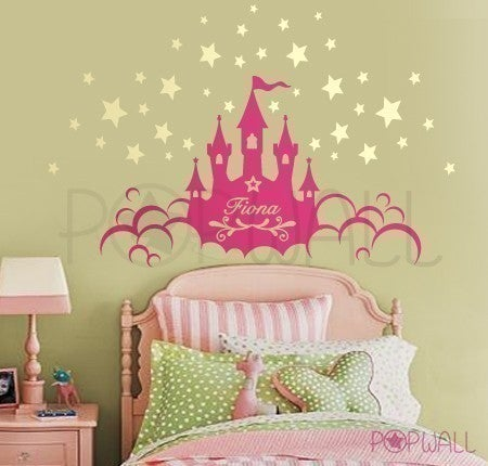 princess magic castle kid nursery child room wall decal stickers car