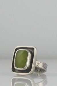 Image of Olive Jade Small Square Moat Ring