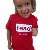 Image of read to me toddler tee, red/white