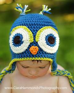Image of Owl Earflap hat Crochet Pattern