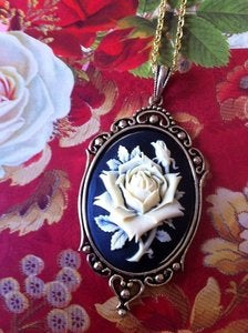 Image of Ivory Rose Silhouette Cameo Necklace