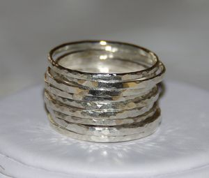 Handmade stackable rings & jewelry accessories by Nadine — SET OF 9 handmade hammered sterling silver stackable rings, sizes 5, 6, 7, 8, 9, 10, 11?Stacking rings ? Stackable rings ? Stack rings? from handmadestackablerings.bigcartel.com