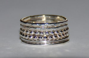 Image of Rustic beaded (dotted), smooth and hammered sterling silver stacking rings set sizes 4.5.6.7.8.9.10.