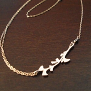 Image of Sterling Silver and 14K Gold FIlled Gingko Leaf Necklace