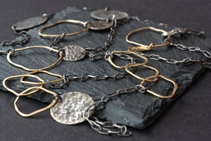 Image of Long Organic Mixed Metal Necklace