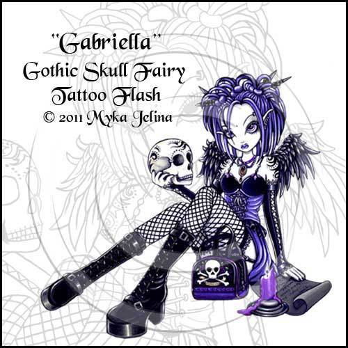 Image of Gabriella Gothic Skull Fairy Tattoo Flash