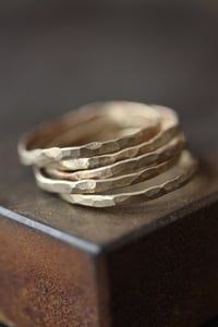 Image of Hammered 14kt Gold Stacking Rings- as seen in LUCKY Magazine