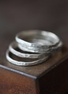 Image of Hammered 14kt White Gold Stacking Rings