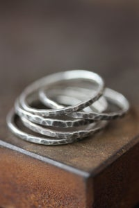 Image of Hammered Oxidized Sterling Silver Stacking Rings