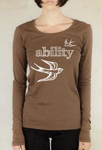 "Image of ""Ability Gives You Wings!""  ladies long sleeve, scoop neck top, cocoa"