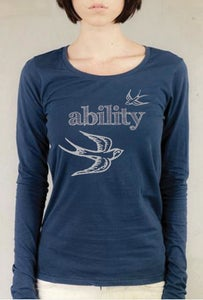 "Image of ""Ability Gives You Wings!"" ladies long sleeve, scoop neck top, marine"