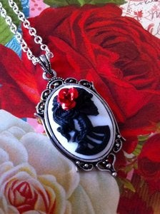 Image of Black Lolita Skeleton White Necklace - Medium