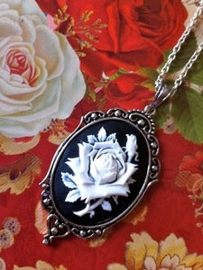 Image of White Rose Cameo Necklace