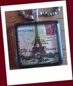 Image of Vintage Eiffel Tower Glass Tile Pendant