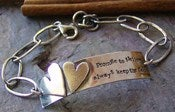 Image of Two hearts ... sterling silver personalized bracelet