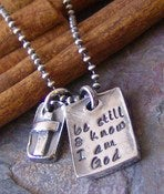 Image of Be still... hand stamped fine silver