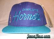 Image of VINTAGE CHARLOTTE HORNETS PINSTRIPED SCRIPT SNAPBACK