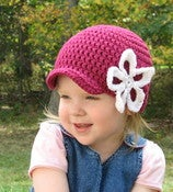 Image of Kiera Beanie with Large Flower Crochet Pattern PDF 031
