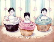 "Image of ""cupcake girls"" vintage porcelain doll topped cupcakes print"