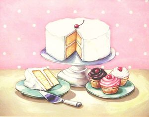 Image of vintage bakery inspired old fashioned desserts print