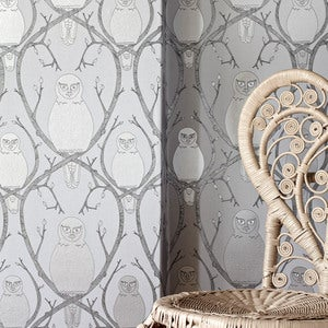 Image of Briar Owl wallpaper - Silver