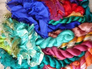 Image of Recycled Premium Multicolor Sari Silk Fiber Thrums  6oz for spinning and nuno felting