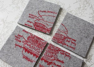Image of best burger ever industrial felt coasters