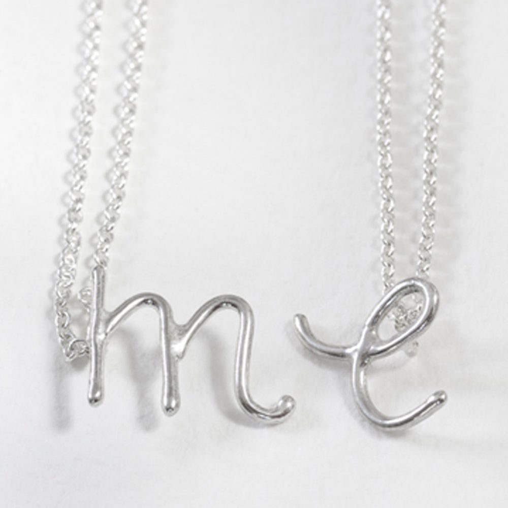 Image of sterling silver handwritten initial necklace