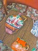 Image of Original 70s Vintage Folk Art, Jug, Plate, Bowl Fabric Cushion Cover