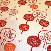 Image of Leaf Tree - RedOrange on hemp/cotton