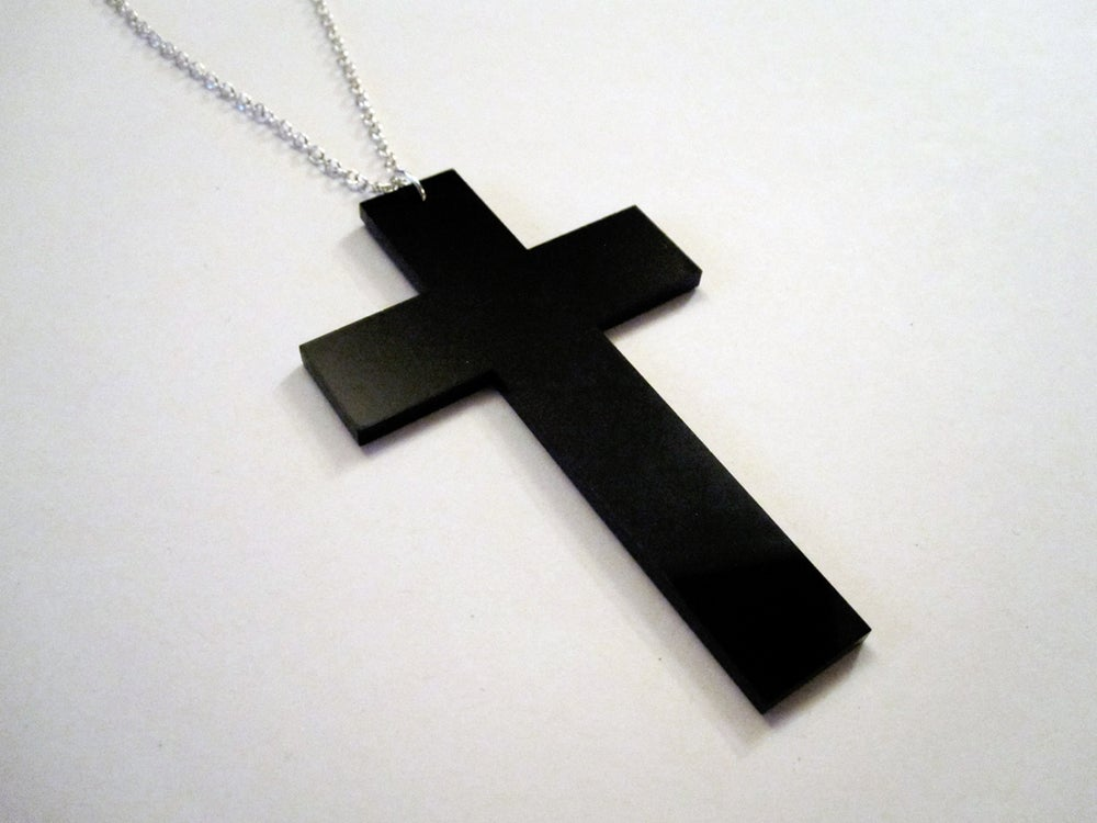 Image of OVERSIZED Black Cross Necklace