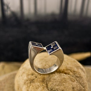 Image of Palladium and Sapphire Crossover Ring