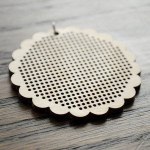 Image of Wooden Cross Stitch Pendant : Scalloped