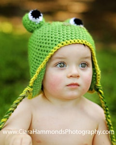 Image of Frog Earflap hat crochet pattern
