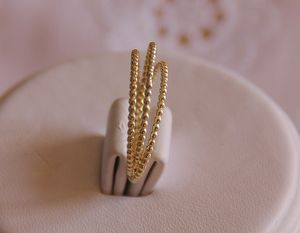 Image of Set of 3 -14k solid yellow gold beaded DOTTED stack/stacking rings - wedding bands, anniversary band