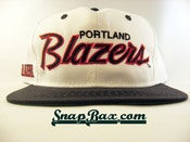 Image of VINTAGE PORTLAND TRAILBLAZERS WHITE SCRIPT SNAPBACK 