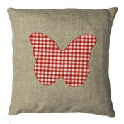 Image of Handmade cushion on natural linen and cotton  Butterfly design