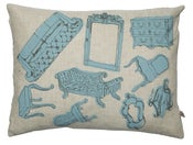 Image of Handmade cushion on natural linen  blue furniture design