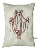 Image of Handmade cushion on natural linen  Chandelier Design, bordeaux
