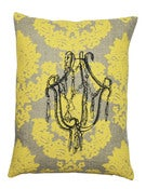 Image of Handmade cushion on natural linen  Chandelier Design, yellow